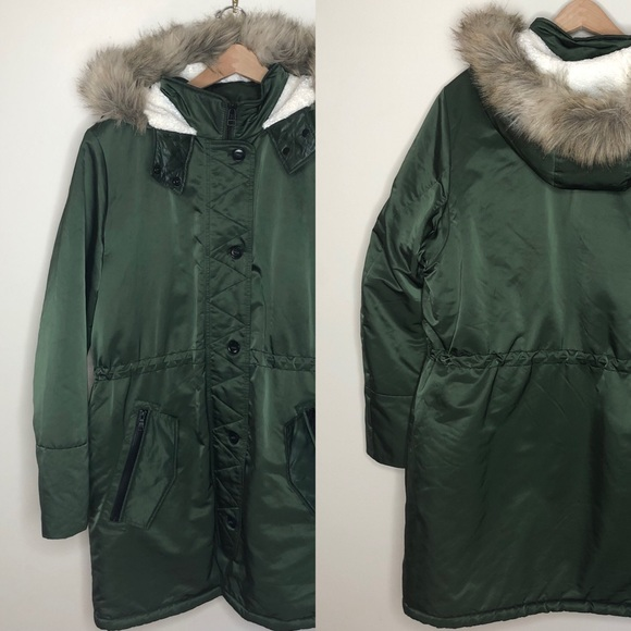 Banana Republic Jackets & Blazers - Green shearling faux fur hood long luxe coat XL